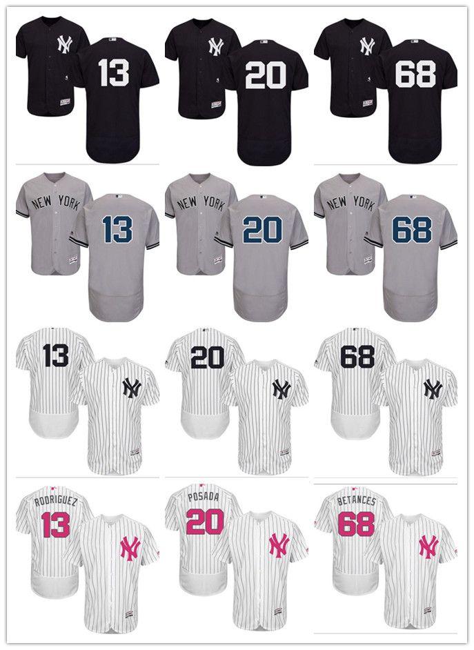 low priced 5a1bb c9b95 2018 custom Men women youth NY Yankees Jersey #13 Alex Rodriguez 20 Jorge  Posada 68 Dellin Betances Home Black White Grey Baseball Jerseys