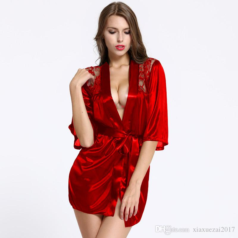 d8be8b729 2019 Lace Patchwork Bride Bridesmaids Robe Sexy Lingerie Women Satin  Wedding Party Dress Kimono Robes Nightgown Sleepwear Bathrobe From  Xiaxuezai2017