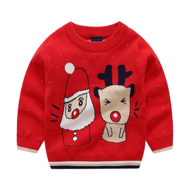 c0fe08a3c1c9 Baby Girls Sweater Santa Claus Reindeer Boys Knitting Pullover ...