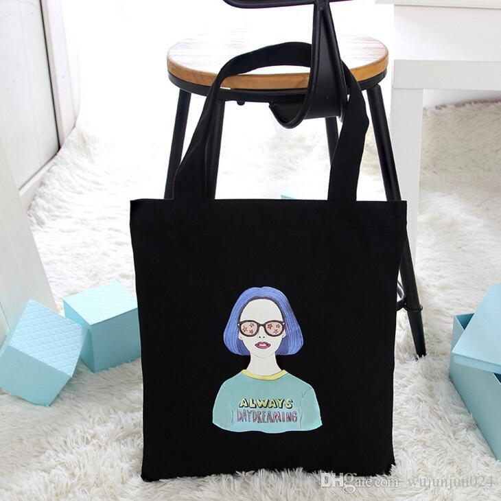 2018 best selling Canvas Tote Bag Handmade Cotton Shopping School Travel Women Folding Shoulder Shopping Bags