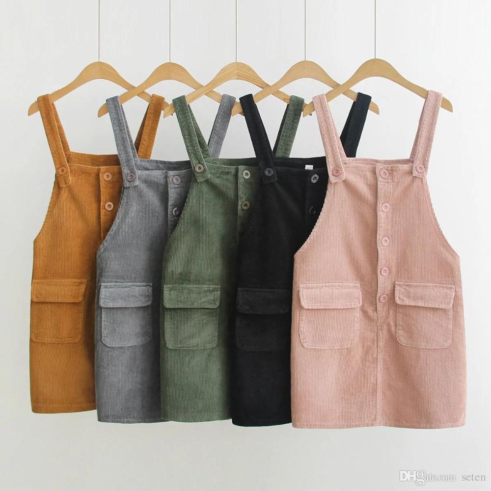 835ac77fe4 2019 2018 Spring Sweet Vintage Sleeveless Pink Dress Women Japanese Fashion  Mori Girl Suspender Dresses Lady Simple Corduroy Overalls From Seten