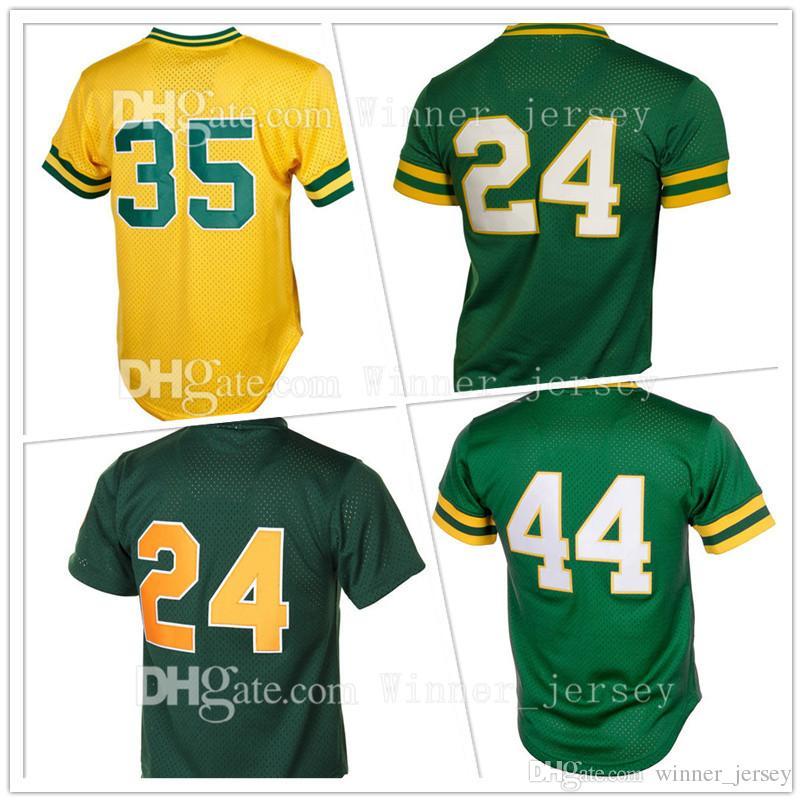 47387edb8 ... stitched 24 rickey henderson 44 reggie jackson baseball jerseys 35  rickey henderson retro jersey wholesale cheap