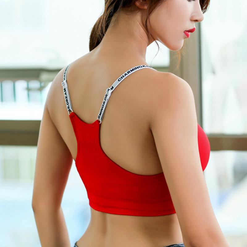 5cbc73f18f 2019 Sexy Yoga Sports Bra Women 2018 Fitness Gym Workout Red Push Up Padded  Female Brassiere Underwear Sportswear Tank Vest Crop Top From Peniss