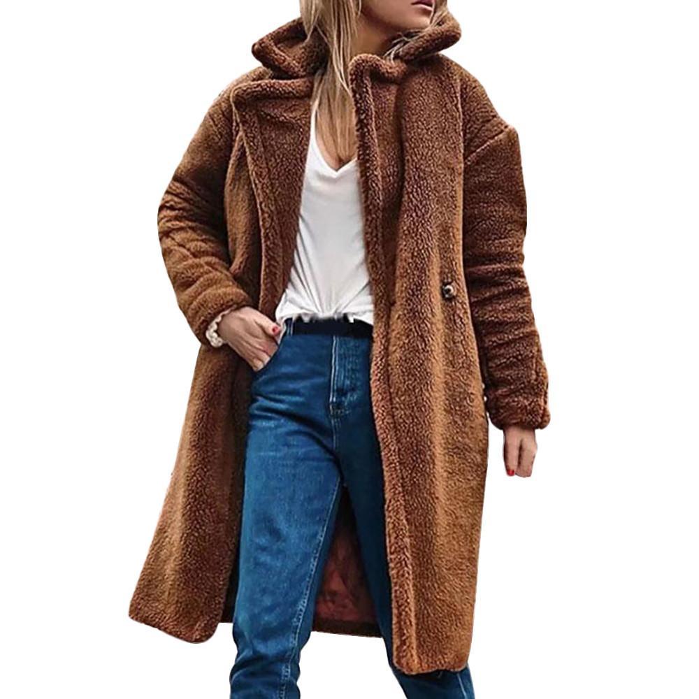062d003833093 Women Winter Casual Warm Parka Jacket Solid Outwear Coat Faux Fur ...