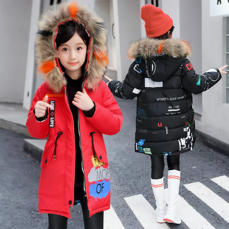 e8e372fa6 2018 Fur Hood Jacket For Girls And Boys Winter Coat Children Snow Wear  Parka Thick Cotton Padded Winter Jacket For Kids Winter Coats For Teenagers  Winter ...