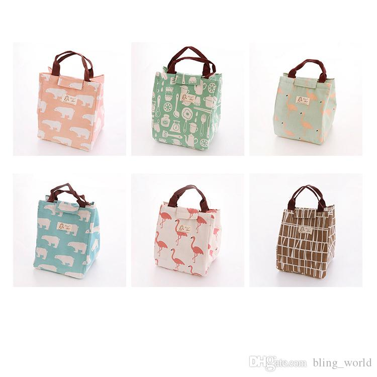 cb7c37273557 2019 Insulated Lunch Bag Thermal Handheld Picnic Container Bag Bento Pouch  Insulation Tote Cute Portable Handbags 6 Designs YFA359 From Bling world