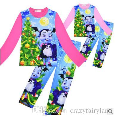 3c7e5bccb Children Cartoon Vampirina Pyjamas Girls Spring Fall Vampire Cartoon  Printing Pattern Pajamas Set Cotton Sleepwear Pajamas for Kids