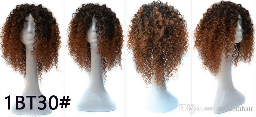 Ombre Synthetic Hair Wigs For African American Women Heat Resistant Fiber Curly Mid-length Style Full None Lace Synthetic Wig For Black Lady