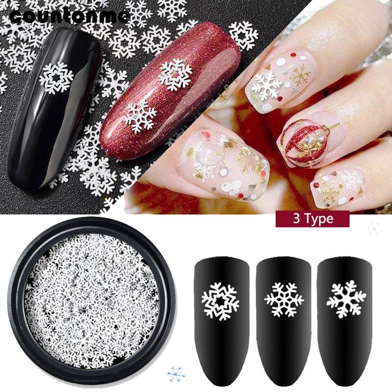 1box Christmas Nail Glitter Flakes Sequins Mix 3 Design Snowflake