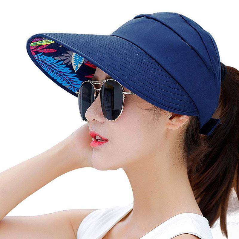 5ed18c0a Sun Hats For Women UV Protection Summer Beach Wide Brim Visor Packable  Solid Color Flat Bill Hats Beach Hat From Hilaryw, $29.55| DHgate.Com