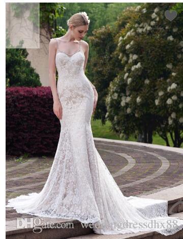 b1ec790403c Spaghetti Strap Lace Mermaid Court Train Wedding Dress Sparkly Prom Dresses  Stunning Dresses From Weddingdressdhx88