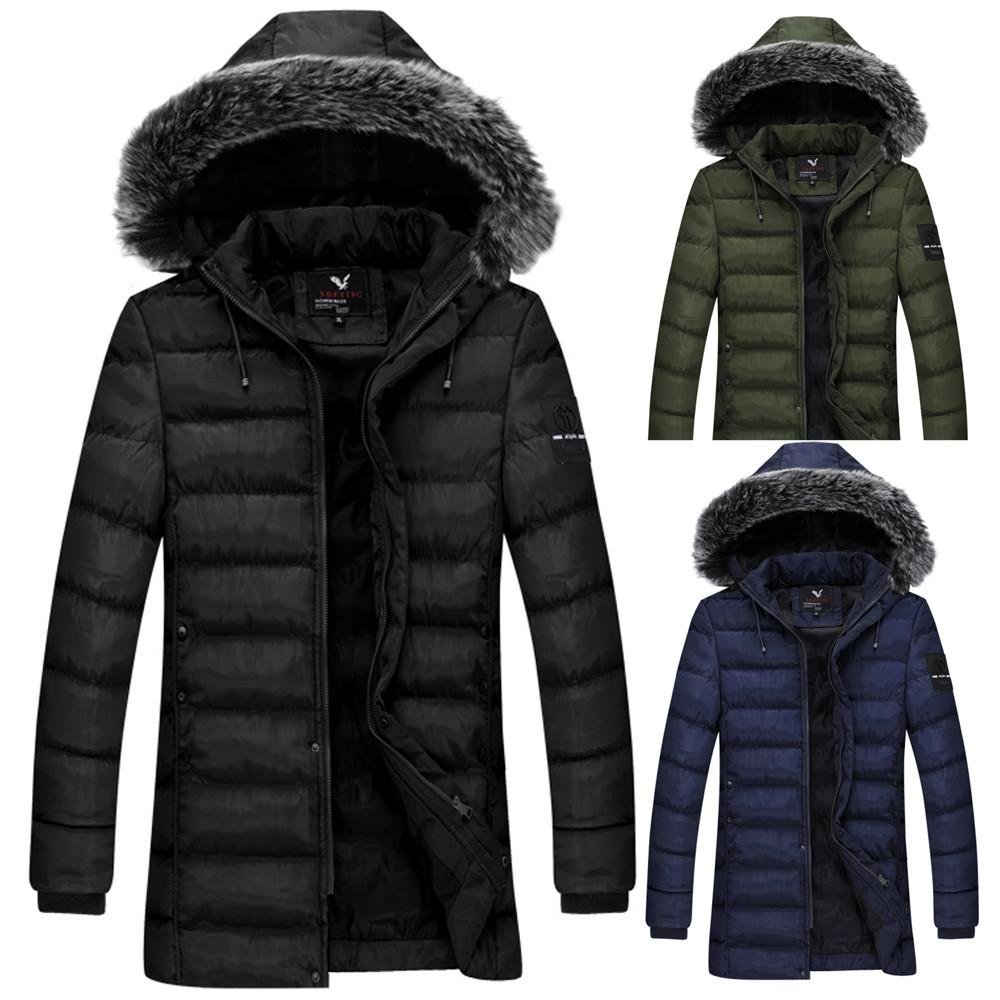 046e04995 2019 Men'S Winter 2018 Hoodie Fur Collar Thickened Pure Color Cotton  Outwear Jackets Coat Solid Color Thick Warm Hooded Slim Dress From  Harrietai, ...