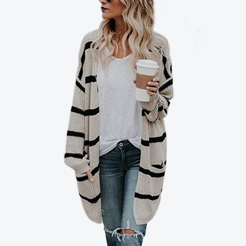 3f3406dadb 2019 Striped Knitted Long Cardigan Women S Sweater Long Sleeve Pocket  Womens Clothes 2018 Autumn Outwear Loose Feminine Sweaters From Bigseaa