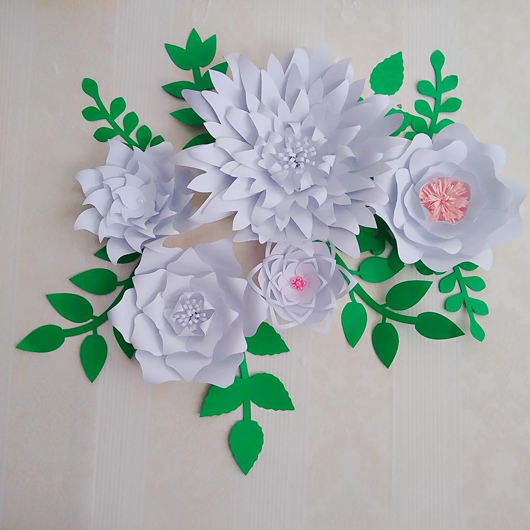 2018 Half Made Flower Latest Giant Paper Flowers With Leaves Set