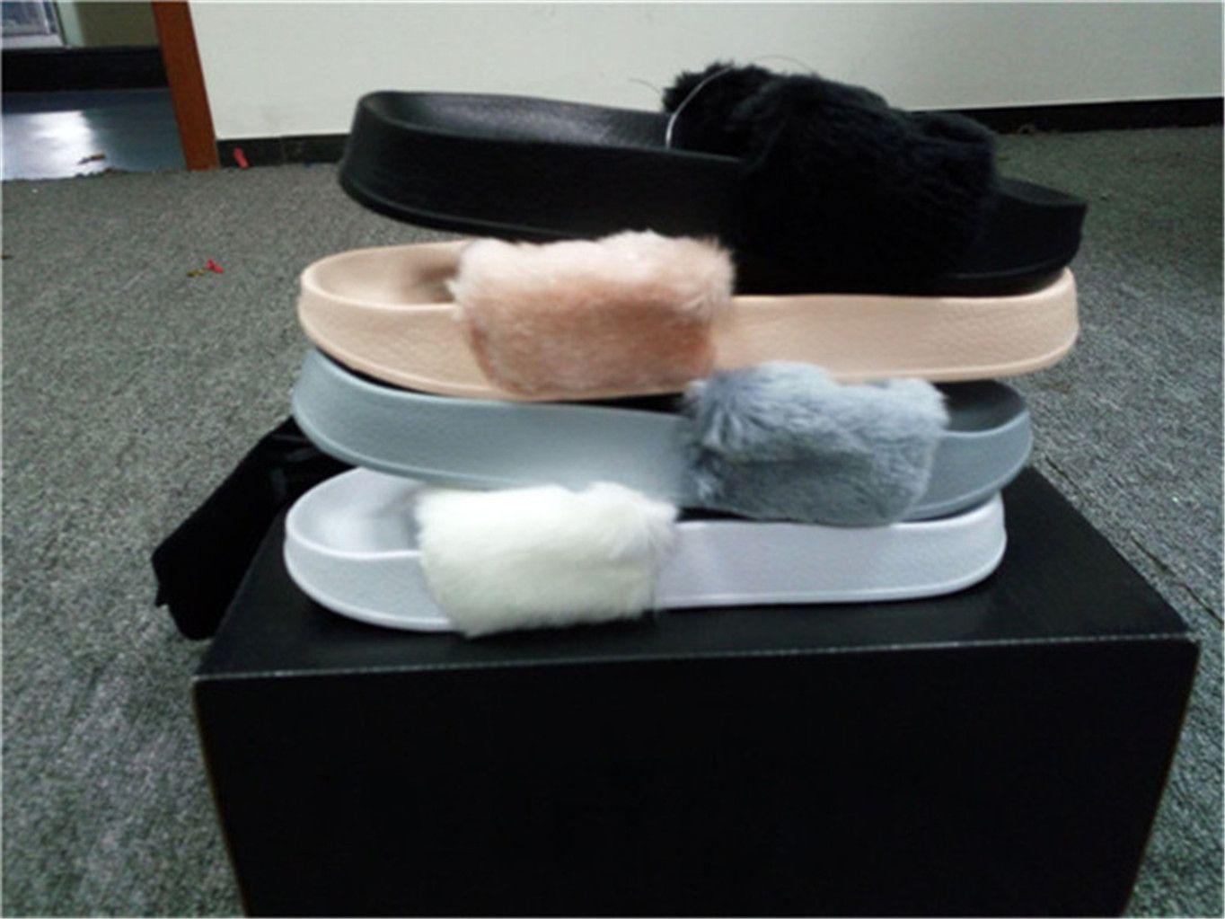 427beac6859 Dust Bags+ BoxRIHANNA FUR LEADCAT FENTY SLIDES WOMEN Men SLIPPERS House  Winter Slipper Home Shoes Woman Warm Slippers Chinelos Bag Designer Shoes  Brown ...
