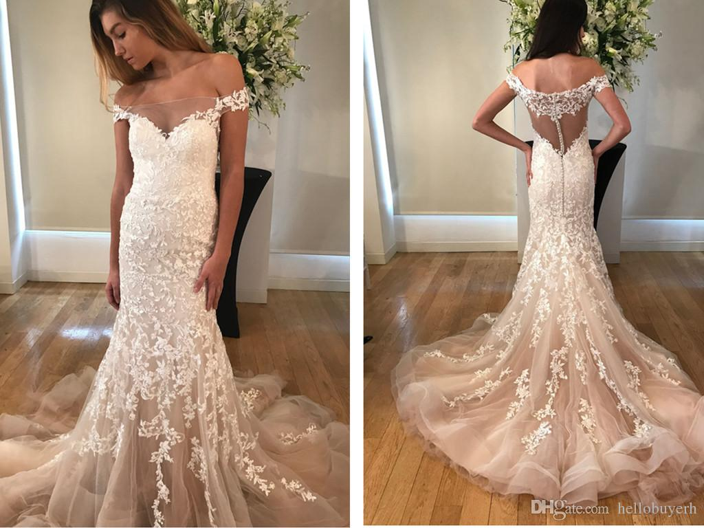 Tulle beach wedding dresses mermaid cheap lace applique