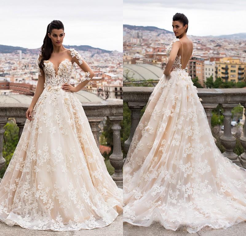 Großhandel Milla Nova Bella 2018 Traum Braut Sheer Long Sleeves Full ...