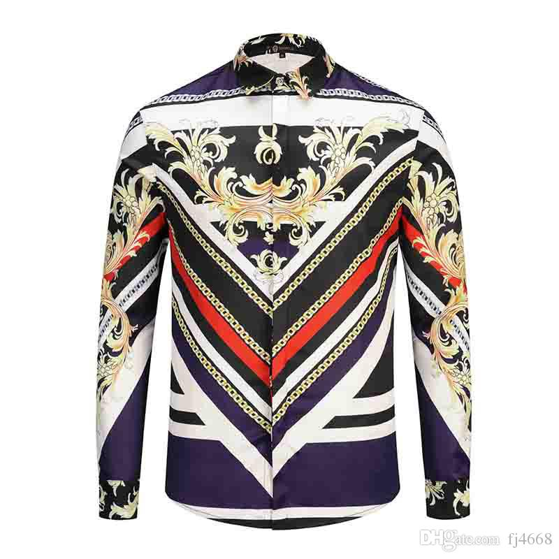 2018 Brand New Medusa stampato Camicia harajuku uomo Slim Fit camicie uomo nero stampa casual top