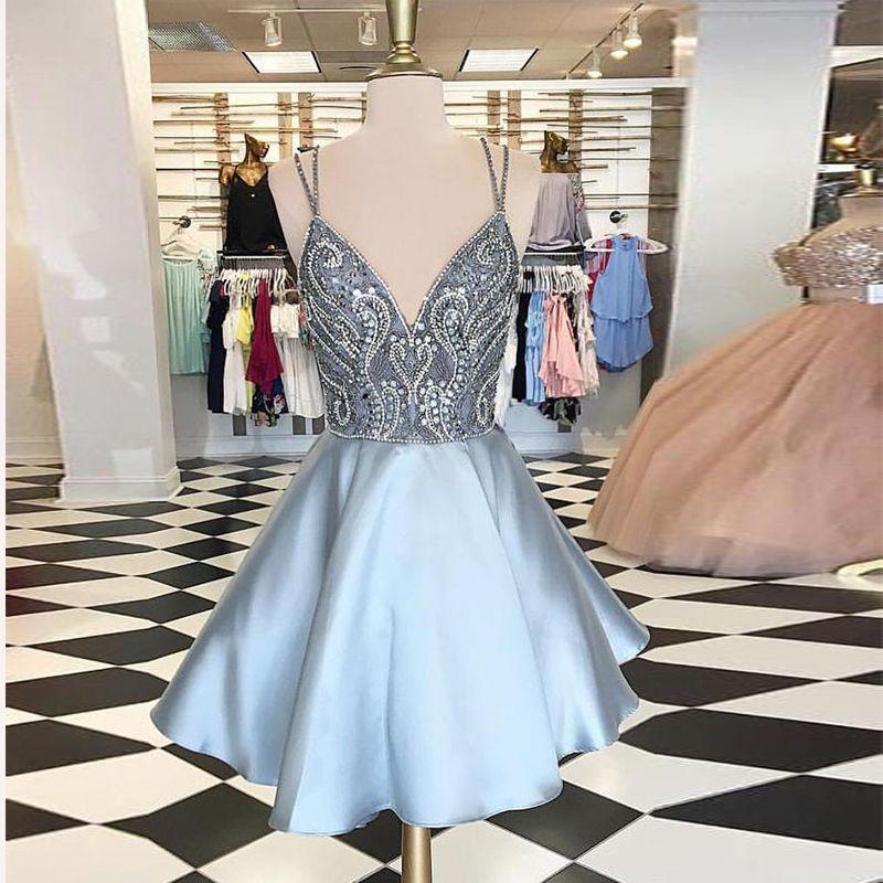 ad3cb6e777 Light Blue Spaghetti V-Neck Short Homecoming Dresses Beading Satin Zipper  Back Prom Gown 2018 Free Ship Backless Cocktail Dress