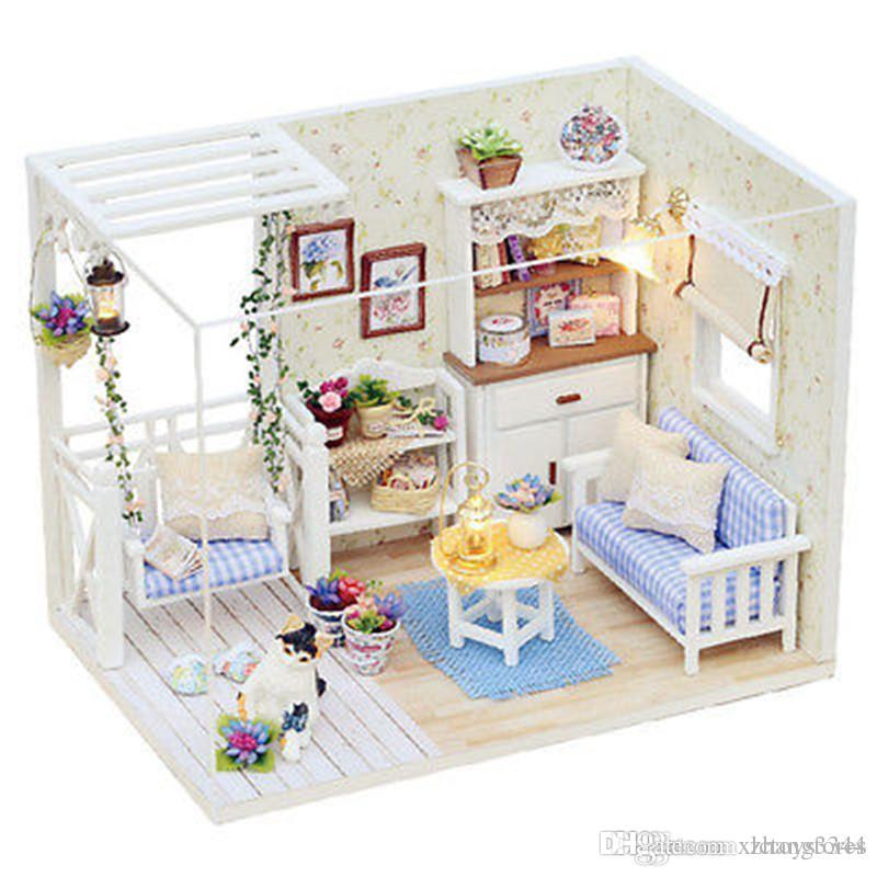 New Doll House Furniture Kits Diy Wood Dollhouse Miniature With Led