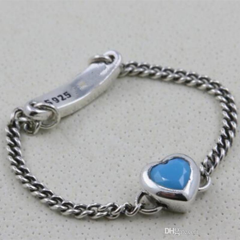 cc688c7a1db33 Women Ring 925 Sterling Silver European Pandora Style Charm Jewelry  Spirited Heart Ring with Cyan Blue Crystal