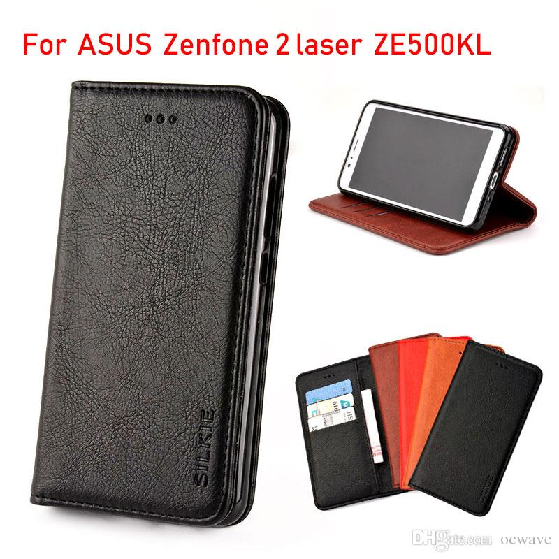 finest selection ab10f cb1f6 For ASUS Zenfone 2 laser ZE500KL case Luxury Flip cover Vintage Leather  with Card Slot Without magnets with Card Slot fundas coque