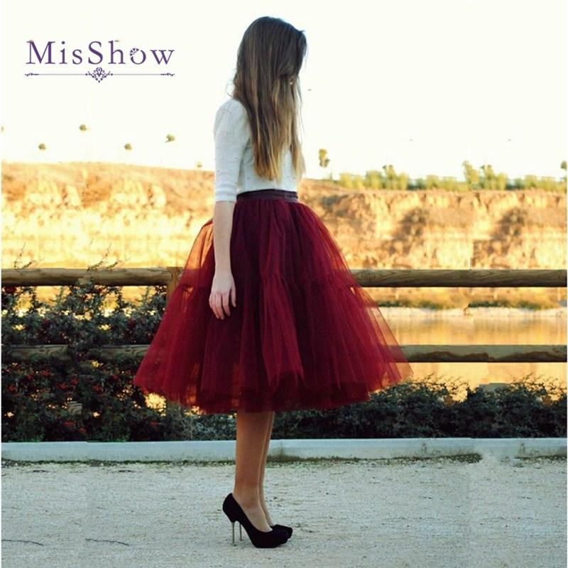 best service f76b6 c8ad3 Gonne Puffy Womens 6 strati Midi gonna in tulle bordeaux rosso tutu gonne  donne ball gown party petticoat 2018 lolita faldas saia