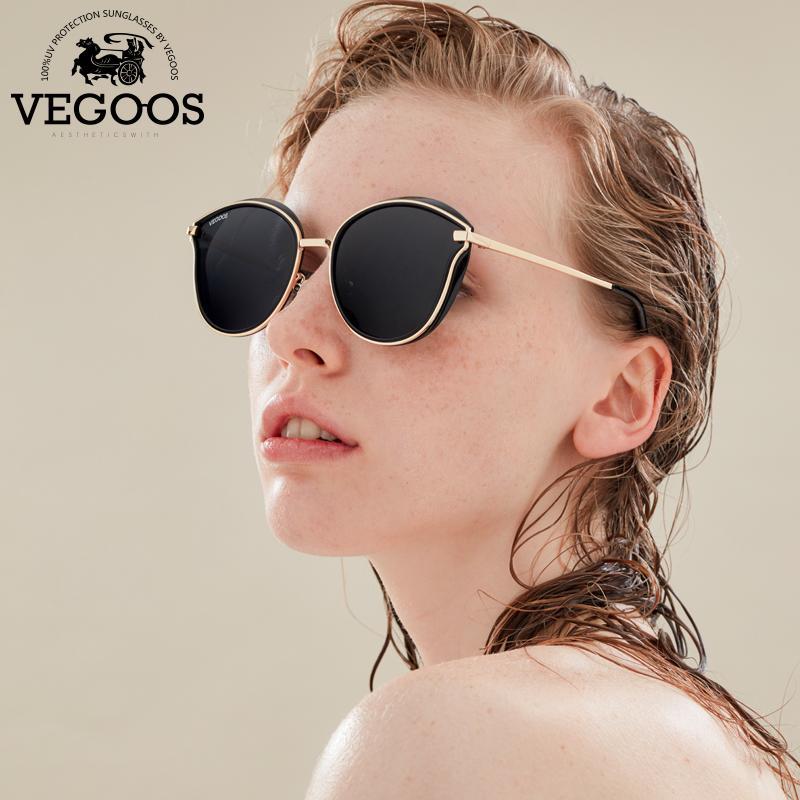 a04a1c64e2470 Compre VEGOOS Polarizada Mulheres Rodada Óculos De Sol PC Frame Colorido Lente  Espelhada Moda Retro Olho De Gato Polaroid Óculos De Sol   6115 De Strips,  ...