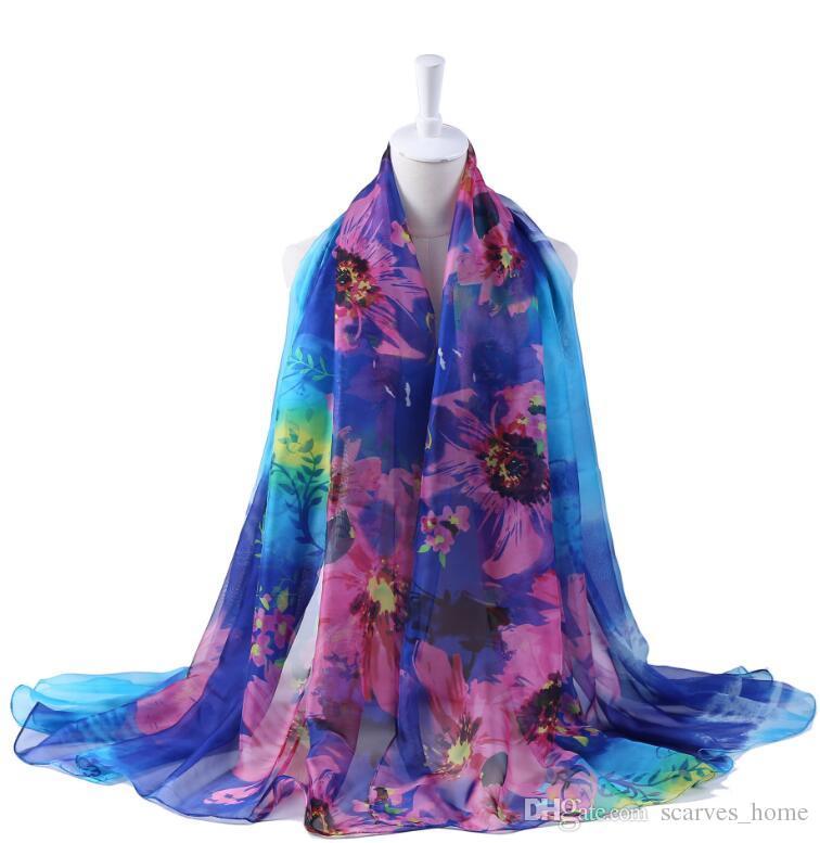 Big Size Women Fashion Silk Floral Scarf Shawl Femme Novelty Brief Poncho Party Gift Cape Wrap Scarves 200*150cm