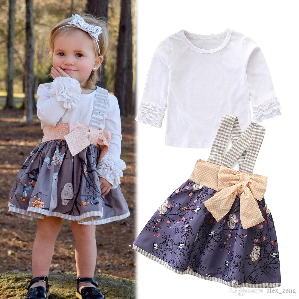 2018 Baby Girls Sets Kids Autumn Fashion Ruffle Long Sleeve White T Shirts+Owl Floral Suspenders Bow Skirts 2pcs Suit Halloween Clothing