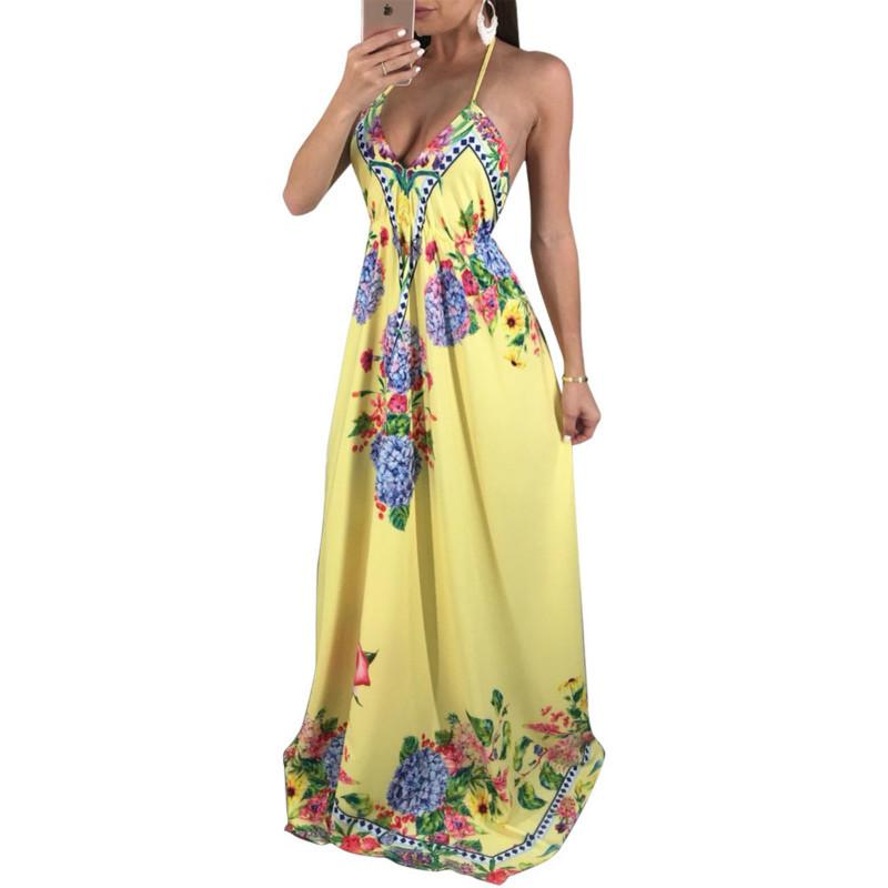 1ec21a3a4c56c 2019 Boho Women Maxi Halter V Neck Loose Summer Beach Dress Sexy Backless  Flower Print Long Party Dresses Casual Vestidos Casual Party Dress Grey  Party ...