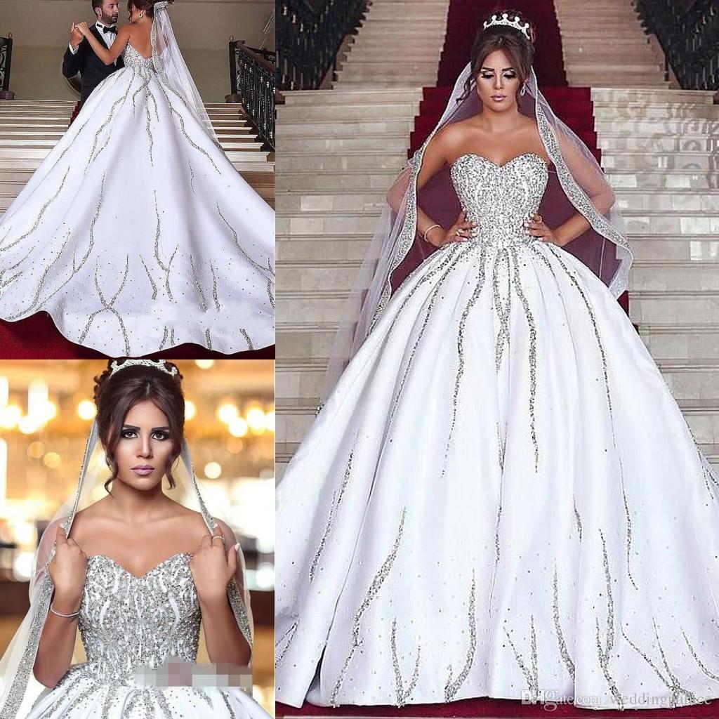 dc884eeebb72 2018 Elegant Sweetheart Neck Ball Gown Wedding Dresses Beaded Dubai  Luxurious Bridal Gowns Princess Wedding Gowns Wedding Dresses Under 1000 Wedding  Dresses ...