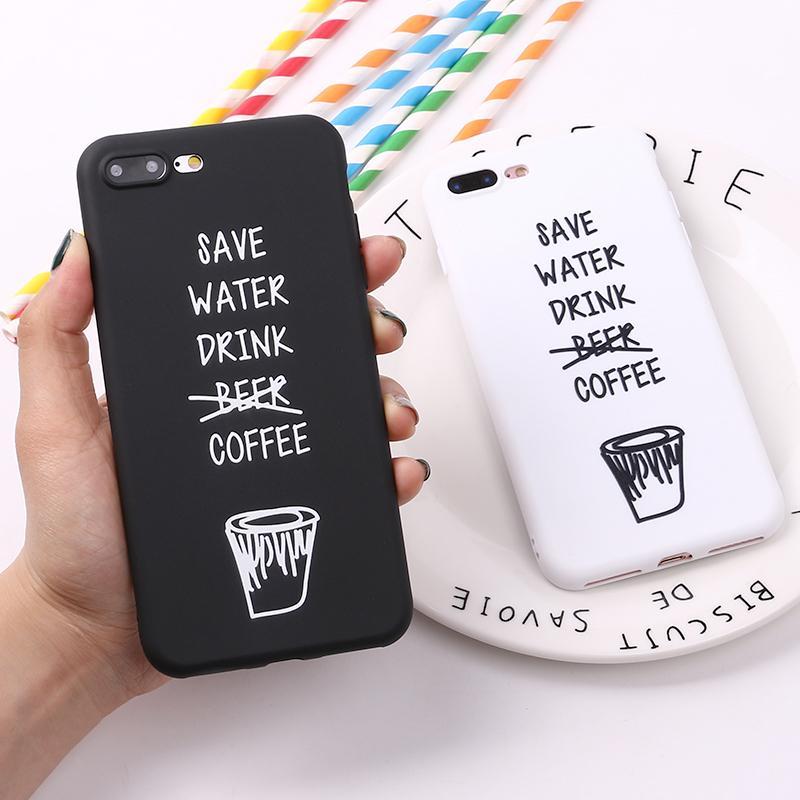 f483c9e7f6c Fundas Personalizadas Para Celulares Para IPhone 8 8Plus X 7 7Plus Coffee  Cool Cita Palabras Divertidas Funda De Silicona Mate De TPU Suave Fundas  Para ...