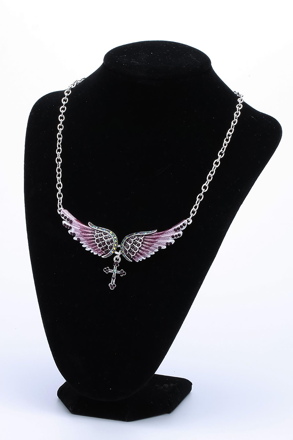 Yacq Angel Wing Cross Necklace Earrings Sets Women Biker Bling Jewelry Birthday Gifts for Her Wife Mom Girlfriend