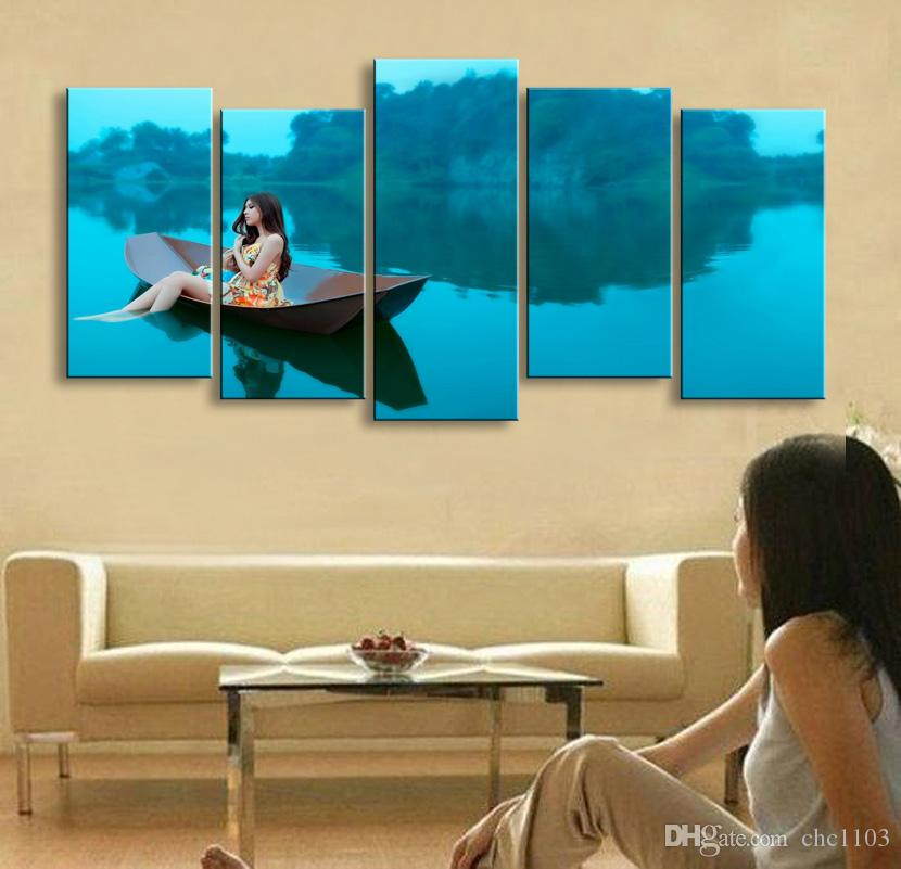 5 piezas de mujer de impresión de alta definición en la isla impresiones de lienzo cartel de pintura y arte de la pared imagen de la sala HaiD-001