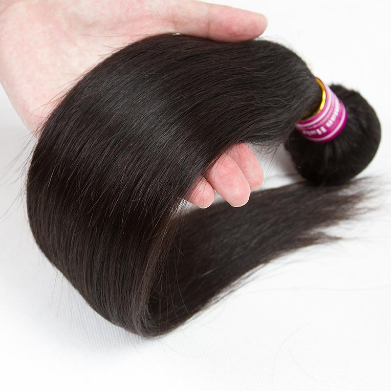 Оптовый горячий бразильский Virgin Human норка прямые волосы 3 Связки с Closure 4x4 свободной и средней части волос утками Черный завод дешевой цене