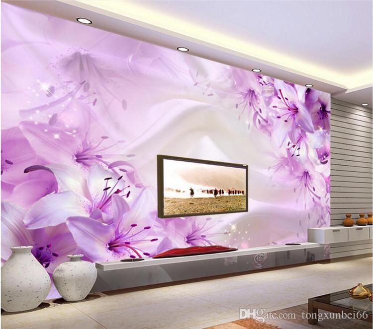 Romantic 3D Stereo Purple Flower Silk Wallpaper Living Room TV Sofa Backdrop Wall Fresco Home Decor Mural Papel De Parede Floral