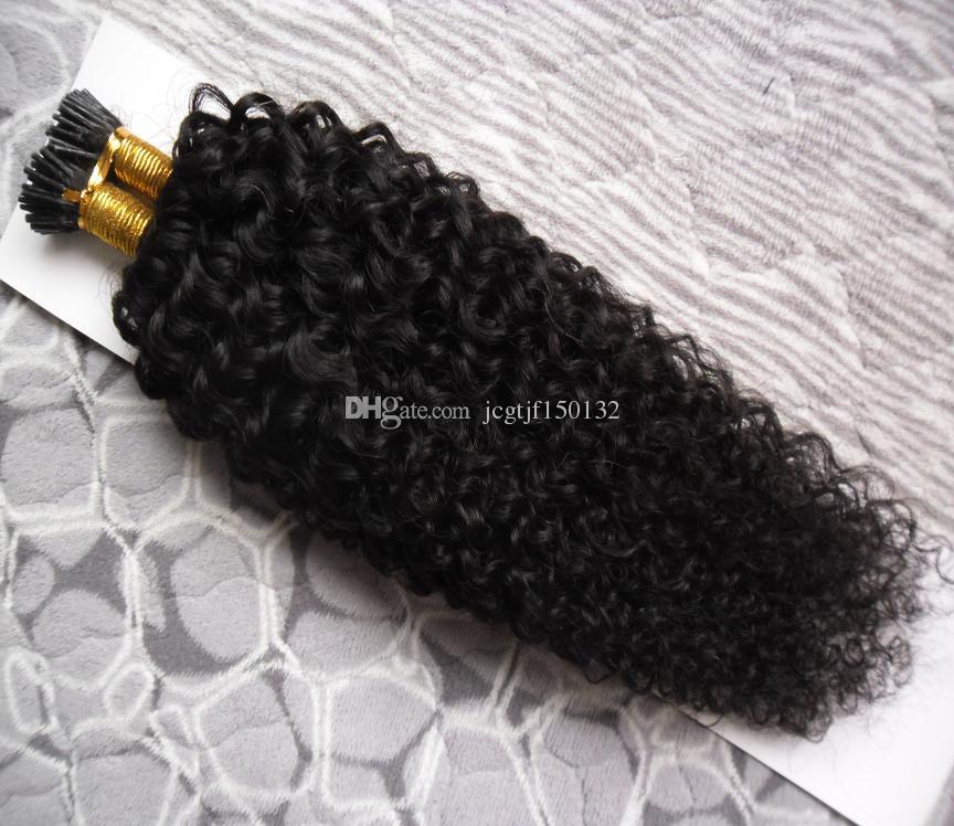 자연 색 아프리카 킨키 곱슬 머리 100g 인간의 사전 결합 된 퓨전 헤어 i 팁 케라틴 더블 렌지 머리 확장