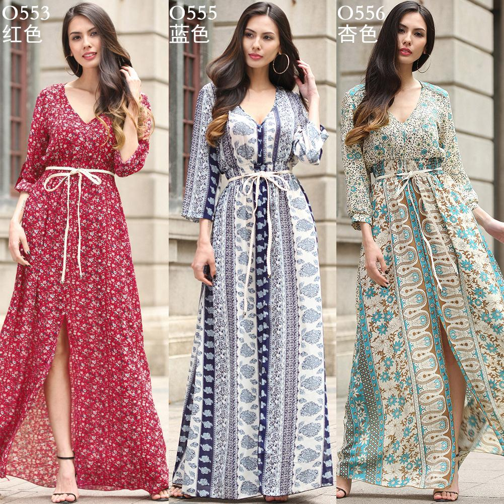 b6fa8ecb37b0 2018 Long Maxi Dresses Bohemia V Neck Three Quarter Sleeve Floral Print  Ethnic Summer Beach Female Split Stylish Style Dress WG0046 Dress Evening Long  Maxi ...