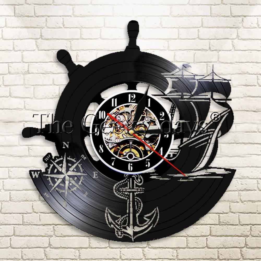 7982a686a97 Compre 1 Peça Âncora Navio Bússola Naval Relógio De Parede Personalizado  Marinheiros Arte Da Parede De Vinil Registro De Música Relógio Presente  Para ...