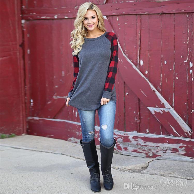 5xl زائد حجم النساء منقوشة لوحة راجلان القمصان كبيرة الحجم طويلة الأكمام البلوز تي شيرت أزياء البلوز الربيع الخريف قميص قمم بيع