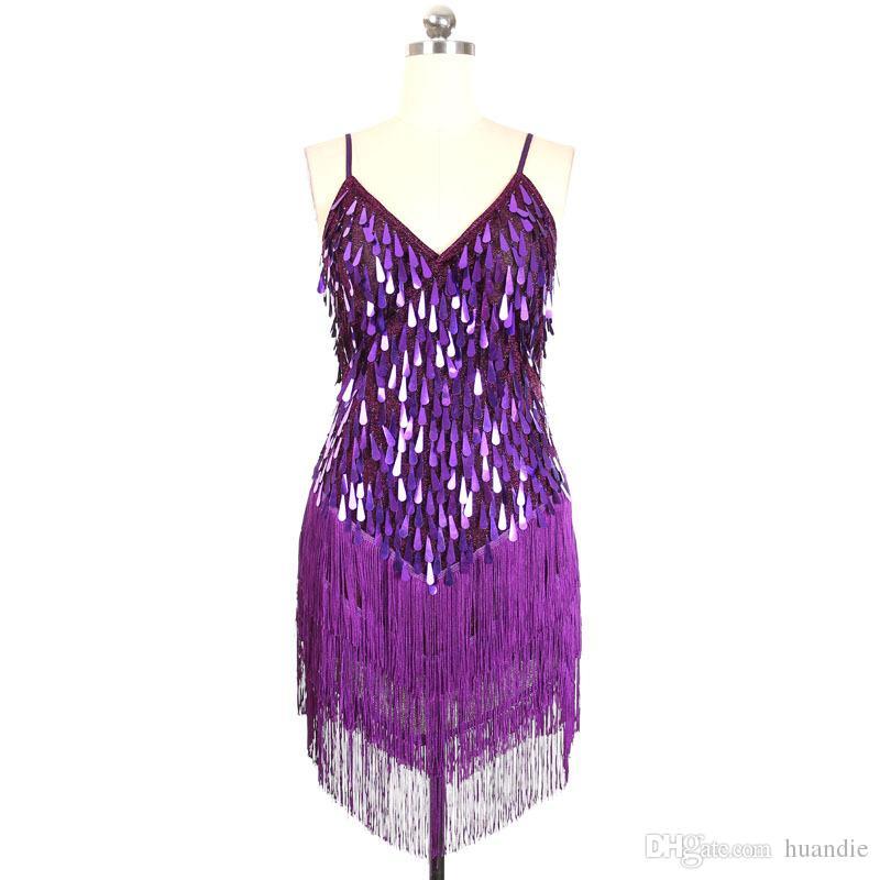 Donne i frangia nappa latino sala da ballo salsa cha cha Samba rumba DS costumi sequin costumi in vendita