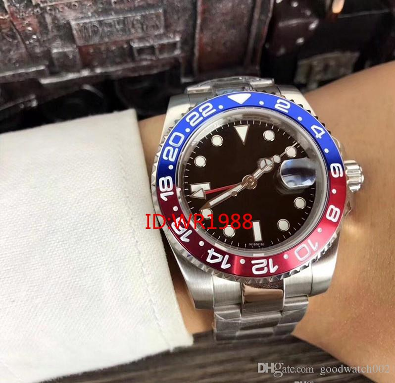 2018 Christmas gift automatic top brand luxury watch stainless steel black blue dial mens Mechanical Watches