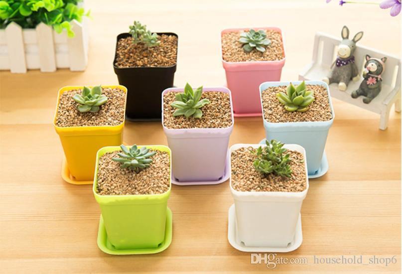 7*7*8cm Flower Pots Plant Pot Trays Flower Plastic Pots Creative Small Square Planters For Succulent Plants