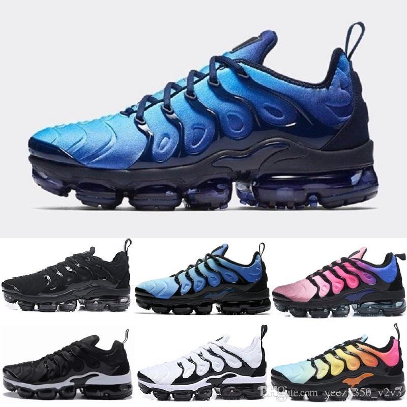 Nike air max vapormax plus 2018 Nuevo TN Plus VM Oliva Metálico Blanco Plata Colorways Zapatos para Correr Male Shoe Pack Triple Black Men Shoes EU