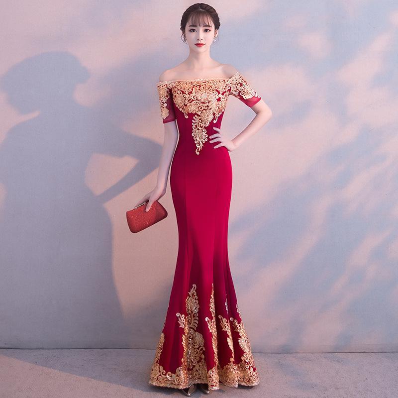 Großhandel Ysf0282 Braut Toast Kleidung 2018 Neue Rote Kleider Hochzeit  Sexy Wort Schulter Fischschwanz Lange Dünne Bankett Abendkleid Rock Von  Dayi73, ... c4dedc8073