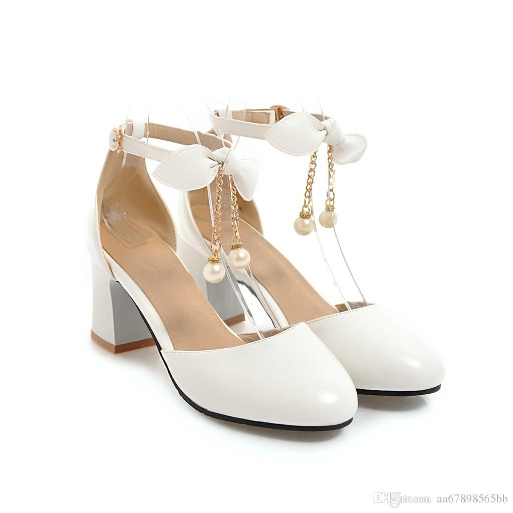 Women sandals summer black white closed toe ankle strap chunky block heel brides wedding sandals shoes