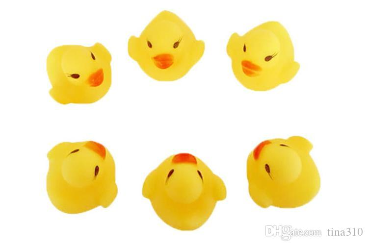New Baby Bath Toy Sound Rattle Children Infant Mini Rubber Duck Swimming Bathe Gifts Race Squeaky Duck Swimming Pool Fun Playing Toy I268