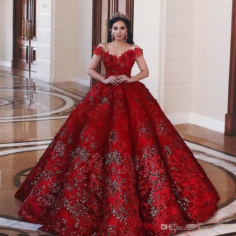 3fb473ebf89 Acheter Fascinant Robes De Mariage Rouge Saoudienne De L u0027épaule  Broderie Sequin Appliques Perles Robe De Mariée Magnifique Tulle Robe De  Mariée ...
