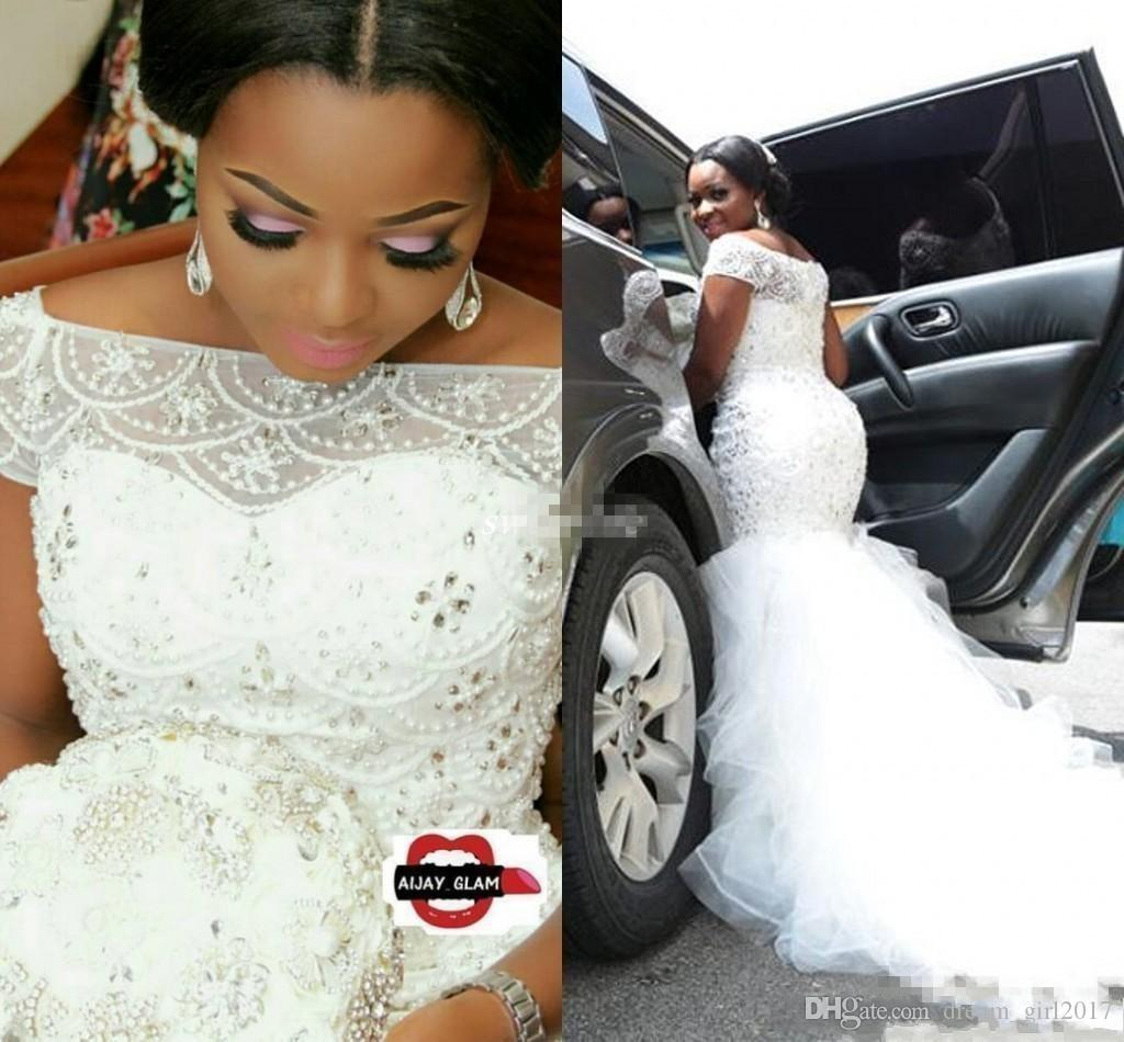2018 Hot African Nigeria Mermaid Wedding Dresses Off Shoulder Crystal Beaded Tiered Ruffles Court Train Custom Plus Size Formal Bridal Gowns